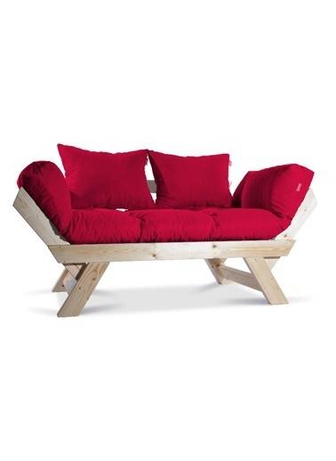 Dekoro Dekoro Kombin Wood Ahşap Iki Kişilik Kanepe, Bahçe Kanepesi, Yataklı Kanepe (Naturel/Kırmızı) Kırmızı